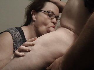Lingerie Voyeur Blowjob video: Shy Mature Librarian Gets A Hot Mouthful Of Cum
