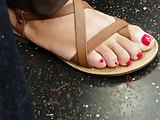 Candid feet red toes