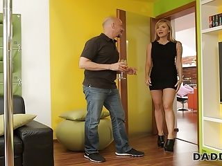 Blonde Blowjob Mature video: DADDY4K. Old man wants to see how his sons girlfriend dances