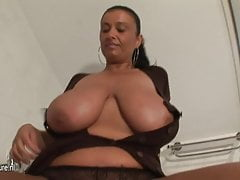 Big breasted amateur MILF getting wet and wild