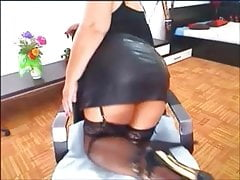 Big tits mature in leather skirt on webcam