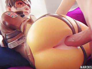 Cartoon Hd Videos video: Round ass Brunette Tracer gets pussy drilled well