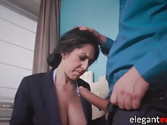 Busty Businesswoman Bj's And Humps Ginormous Hard-on In Buttfuck Office