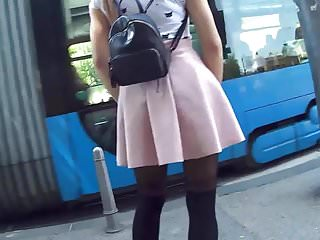 Cute Teen In Little Dress & Stockings Candid 25.04.'18.
