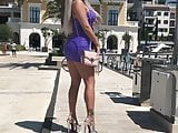 EXTREMLY HOT serbian MILF in micro-dress and high heels