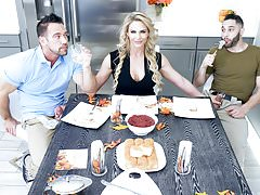Sexy Milf Phoenix Marie Fucks Stepson & Dad For Thanksgiving