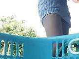 Thai Teen upskirt during house work 1