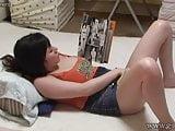Busty japanese girl masturbating while reading a hentai mang