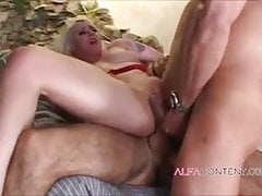 Blonde hottie brutally destroyed in DP threesome