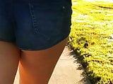 Tight ass teen walking in short shorts