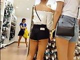 Candid voyeur hot teen tight booty shorts shopping