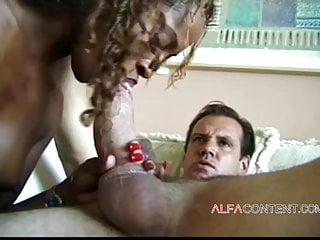 Black Blowjob Facial video: Black slut blows hard white cock until she receives a facial