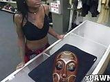 Inked ebony Lexxi Deep dicked after pawnshop blowjob