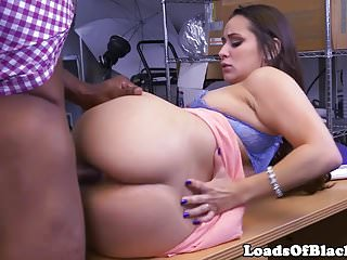 Office babe fucked during interracial casting