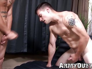 Bottom army homosexual takes it from behind hard and fast