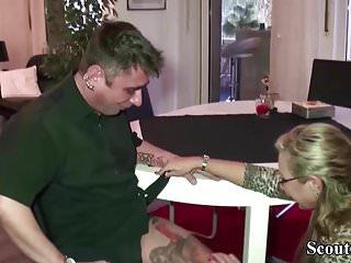German MILF Seduce Young Worker to Fuck When Home Alone