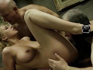 Hardcore Oldyoung video: Busty blonde vs two old men