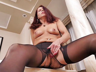 Milf Mature Pantyhose video: Nyloned milf Candy from Canada needs getting off