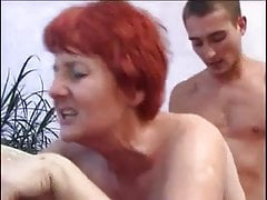 mature mom plays strip poker with young boy