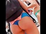 Candid teen amazing ass blue bikini