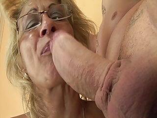 Horny grandma enjoys rimming with stepson