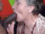 Granny tries the chocolate stick