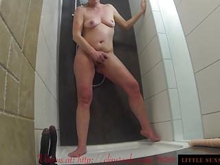Enema Shower Double Dildo masturbation 3 Orgasms Cum on Tits