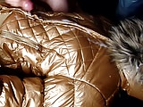 cum on shiny gold coolcat jacket
