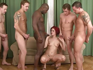 Milfs Gangbang Redheads video: Lucy Ball - Redhead Stuffed With 5 Impatient Battering Rams