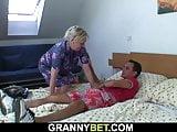 He doggy-fucks busty blonde granny woman