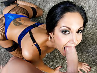 .First Class POV - Big booty Ava Addams sucking a big dick.