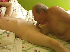 Two gay old mature grandpa playing in the bed | Porn-Update.com