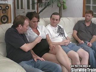 Brunette Threesome Wife video: Slut Wife Fucks Three Guys for Hubby