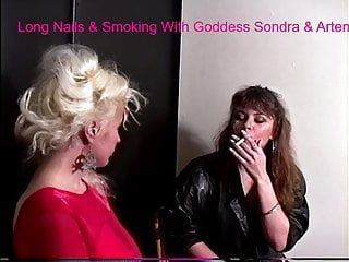 Femdom Blonde Brunette video: Long Nails & Smoking with Goddess Sondra & Artemis
