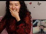 Shy asian teen hilarious webcam reaction!