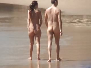 Hidden Cams Beach video: FKK young couple full nude walking