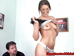 Spex babe dominated before tasting jizz