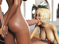 Hot blonde having sex with black shemale in expensive villa