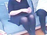Slut turkish woman in Shiny black opaque tights