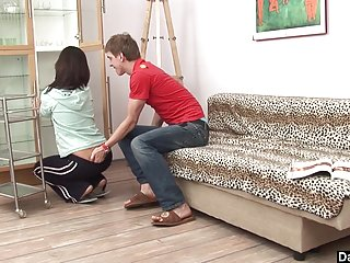 .Hot Brunette gets interrupted for quick fuck.