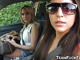 Three pornstars get in a car to find two dudes to fuck