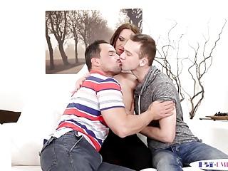 Bisex twink licks cockriding babe in mmf trio