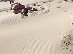 BBW Shows Ass In Sand