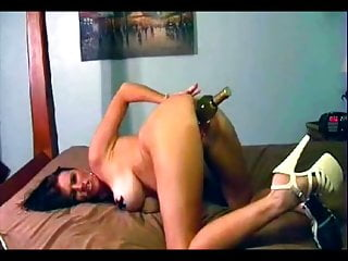 Vintage Big Tits Fisting video: Pierced Slut Taped her Nipples to fuck Wine Bottle