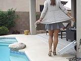 Outdoor windy crossdresser upskirt