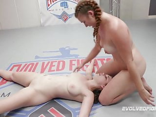 Fingering Brunette video: Anastasia Rose lesbian wrestling against Stephie Staar