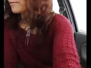 girl public car play