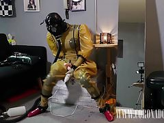 3 strati Guanti in lattice 3 strati Gasmask Self-bondage