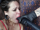 90 pound mouth slave roughly gagged by her Master