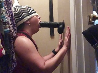 Brunette Milf Wife video: Punishment sitting in closet sucking bbc dildo